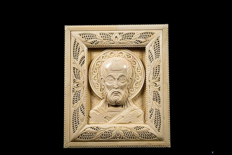 Икона Святой Николай из бивня мамонта