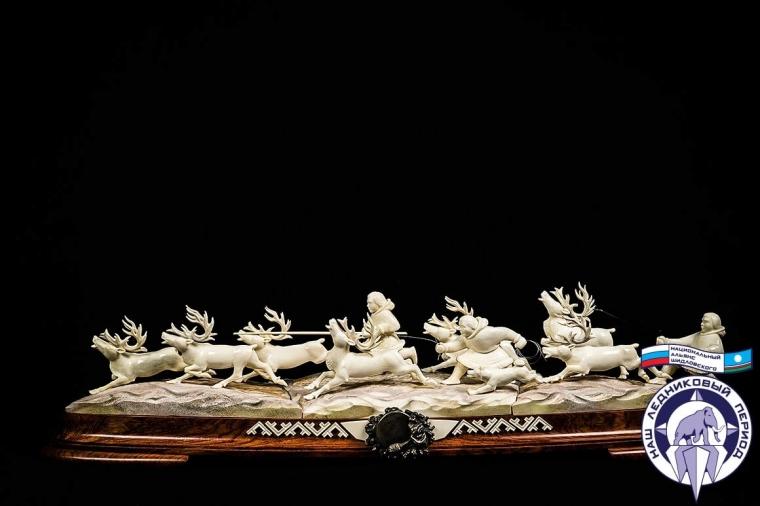 Композиция Погонщик оленей из бивня мамонта