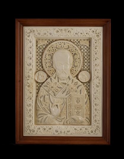 Икона Святитель Николай из бивня мамонта
